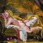 After Boucher with Rabbit hears and Unicorn  (The Blonde Odalisque or Resting Girl, 1752) oil on wood, 20x25cm, 2020