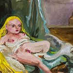 After Boucher, Tiny Leda and the Swan oil on wood, 8x11cm, 2020